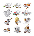coffee and tea drinks vector image vector image