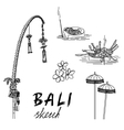Bali sketch Penjor for Galungan ceremonial vector image