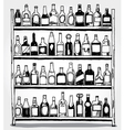 Shelf full of bottles hand drawn vector image