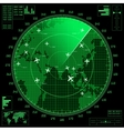 Green radar screen with planes and world map vector image
