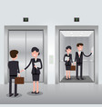 Business people in office building elevator vector image
