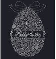 floral easter egg on black background vector image