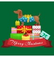 Happy Christmas dogs on stack of presents xmas vector image