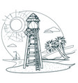 lifeguard tower on the beach outline drawings for vector image