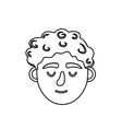 line man head with closed eyes and hairstyle vector image