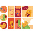 Set of cute cards with home animals isolated on vector image