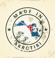 Stamp with map flag of Akrotiri vector image