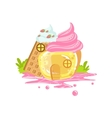 Small Jelly And Waffle House With Whipped Cream vector image