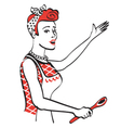 woman with wooden spoon vector image