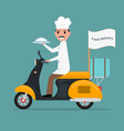 funny cartoon chef cook man scooter food vector image
