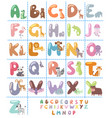 cute zoo alphabet with cartoon animals isolated on vector image