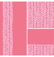 Pink set of three knit textile seamless patterns vector image