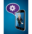 Business man engineer architect phone app concept vector image