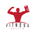 man of fitness silhouette character make selfie vector image