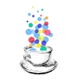 Art Sketch Coffee Cup Bubbles Hand Drawn vector image