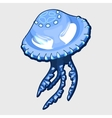 Blue jellyfish with eyes alien character vector image