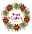 Christmas floral wreath round frame blank banner vector image
