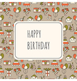 Holiday background with festive icons vector image