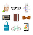 realistic hipster style icon color set vector image
