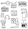 Music tools pack doodles vector image