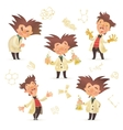 Stereotypic bushy haired mad professor wearing lab vector image