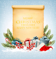 Holiday Christmas background with a gift boxes and vector image vector image