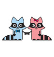 Cute raccoons vector image