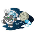 elephant astronaut in space weightless vector image