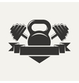 kettlebell and dumbbell with baner logo vector image