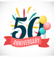 anniversary 50 years template with ribbon vector image