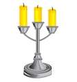 Candlestick on three candles vector image