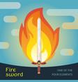 fire sword flat vector image