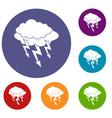 lightning bolt icons set vector image