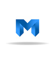 M - blue letter web or business abstract logo vector image