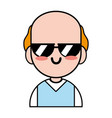 Old man with sunglasses and t-shirt clothes vector image