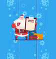 santa claus hold present list on happy new year vector image