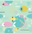 pattern with geometric fish in memphis style vector image vector image