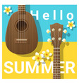 hello summer background with ukulele vector image