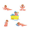 baby kid infant daily routine - eat sleep bath vector image