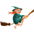 cheerful witch on the broom vector image