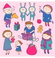 Childish christmas set in cartoon style vector image