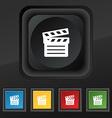 Cinema Clapper icon symbol Set of five colorful vector image