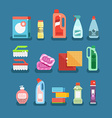 Cleaning tools set Detergents for cleaning home or vector image