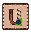letter u candies chocolate vector image