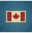 Retro Canada Flag Postage Stamp vector image