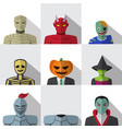 set of people with halloween costume in flat icons vector image