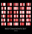 set of red metal gradients collection of vector image