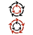Circles of red and black grunge arrows vector image