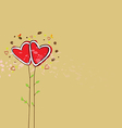 cute heart tree background vector image vector image
