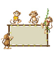 An empty banner with monkeys vector image vector image